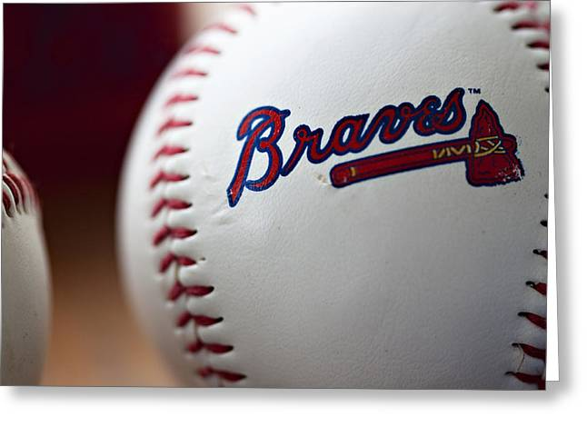 League Greeting Cards - Braves Baseball Greeting Card by Ricky Barnard