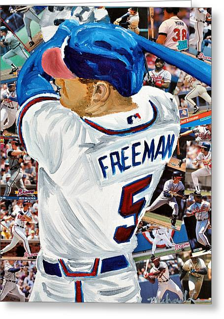 Brave Mixed Media Greeting Cards - Braves Freeman Greeting Card by Michael Lee