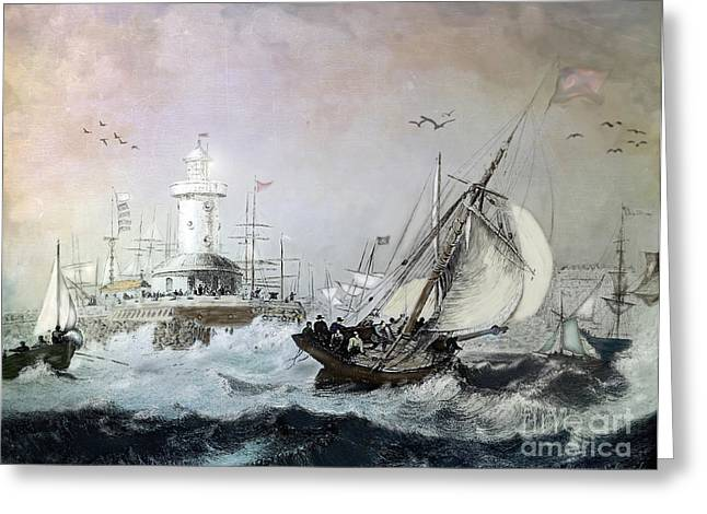 Docked Sailboats Greeting Cards - Braving the Storm Greeting Card by Lianne Schneider