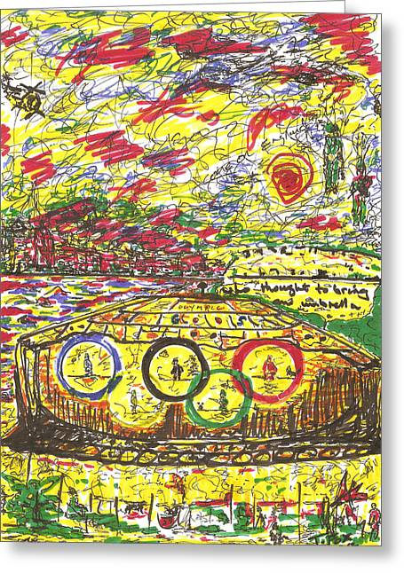 Olympics Drawings Greeting Cards - Bravo Two Nine Olympic Gods Greeting Card by Anthony Fox