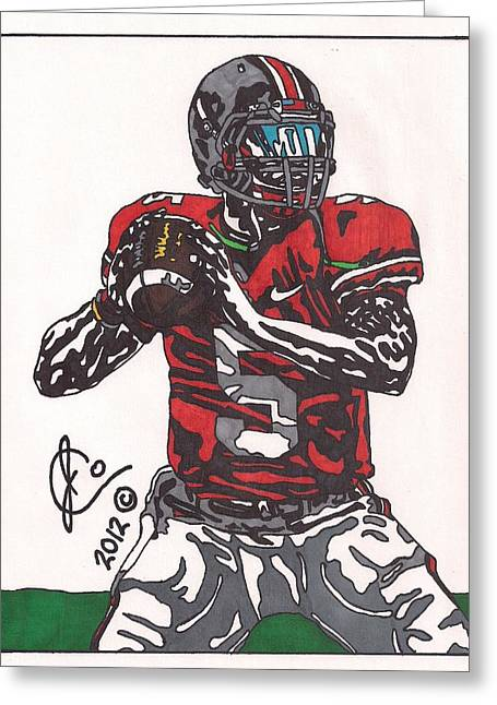 Ncaa Drawings Greeting Cards - Braxton Miller Greeting Card by Jeremiah Colley