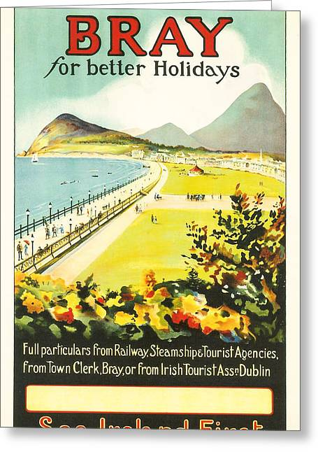Ocean Panorama Greeting Cards - Bray Ireland Greeting Card by Nomad Art And  Design