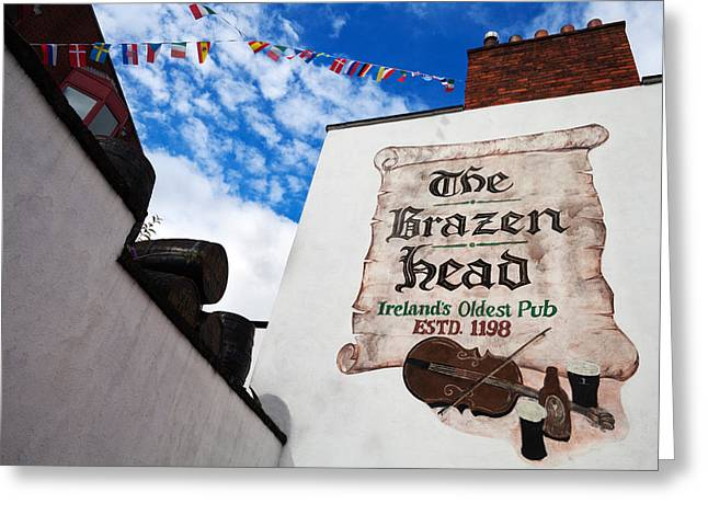 Historic Buildings Images Greeting Cards - Brazen Head Pub Sign, Bridge Street Greeting Card by Panoramic Images
