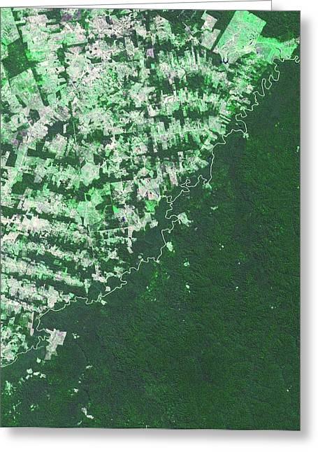 Brazil-bolivia Border Greeting Card by Nasa/gsfc/meti/ersdac/jaros, And U.s./japan Aster Science Team