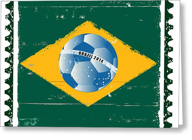 Poststamps Greeting Cards - Brazil flag like stamp in grunge style Greeting Card by Michal Boubin
