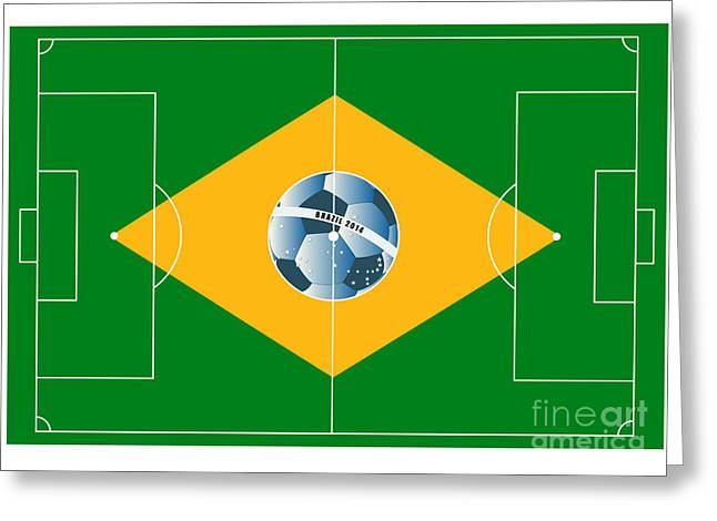 Stadium Design Digital Greeting Cards - Brazil football field Greeting Card by Michal Boubin