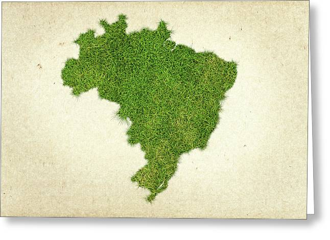 Sao Greeting Cards - Brazil Grass Map Greeting Card by Aged Pixel
