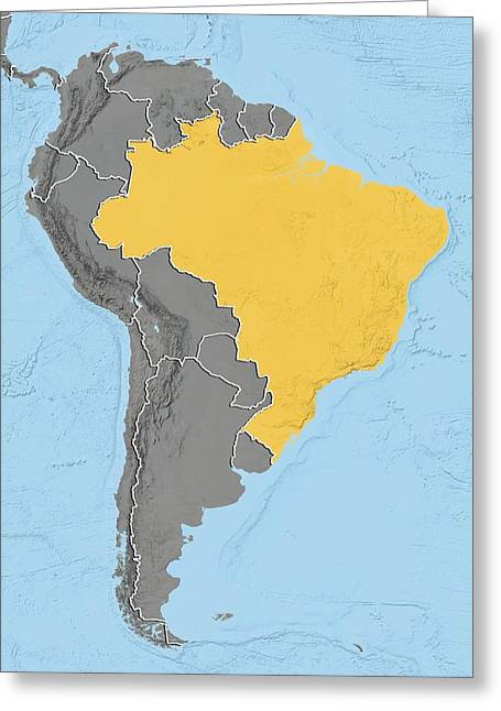 Relief Map Greeting Cards - Brazil, relief map Greeting Card by Science Photo Library