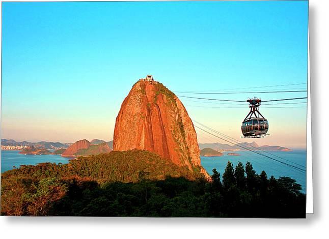 Brazil, Rio De Janeiro, Cable Car Greeting Card by Miva Stock