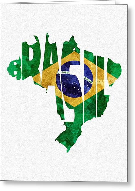 Original Watercolor Greeting Cards - Brazil Typographic Map Flag Greeting Card by Ayse Deniz
