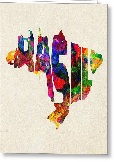 Homeland Greeting Cards - Brazil Typographic Watercolor Map Greeting Card by Ayse Deniz
