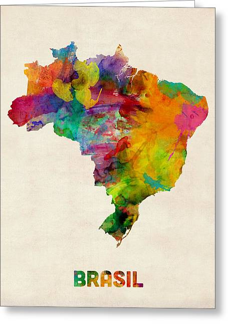 Brasil Greeting Cards - Brazil Watercolor Map Greeting Card by Michael Tompsett