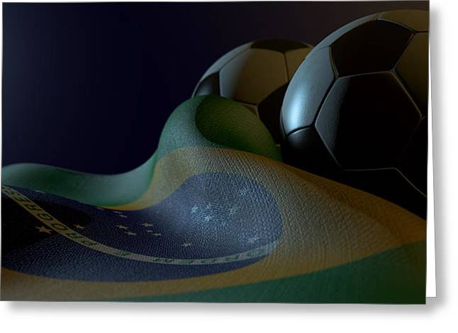 Brasil Greeting Cards - Brazilian Flag And Soccer Ball Greeting Card by Allan Swart