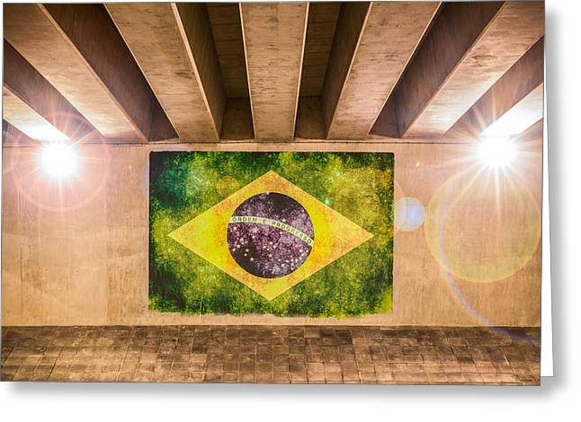 Industrial Concept Greeting Cards - Brazilian Flag Greeting Card by Semmick Photo