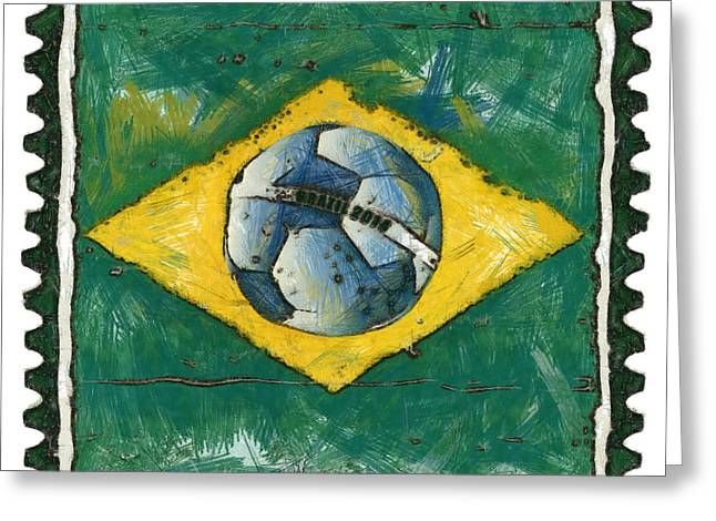Poststamps Greeting Cards - Brazilian flag with ball in grunge style Greeting Card by Michal Boubin
