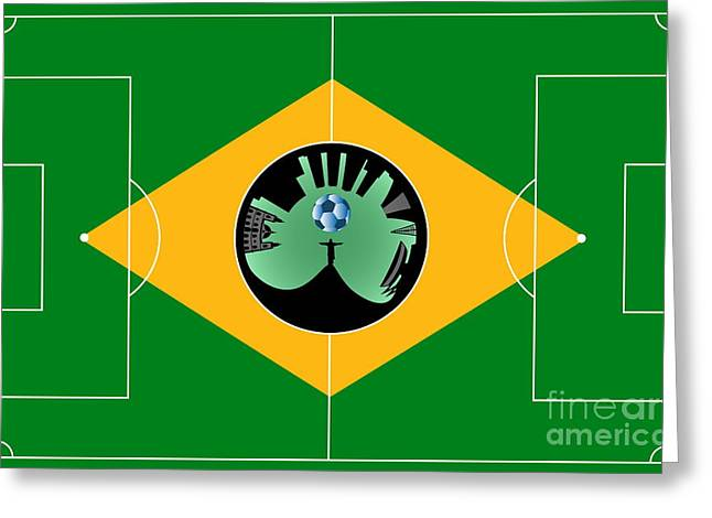 Stadium Design Digital Greeting Cards - Brazilian football field Greeting Card by Michal Boubin