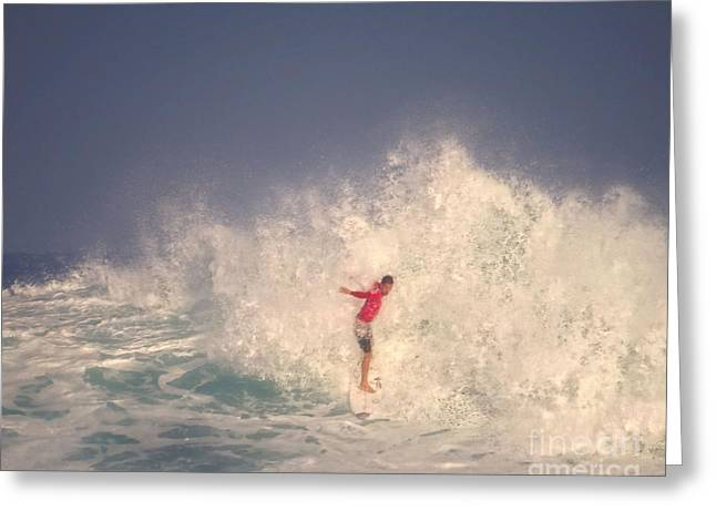 Surfing Photos Greeting Cards - Brazilian Pro Surfer Jean Da Silva Competes Greeting Card by Scott Cameron