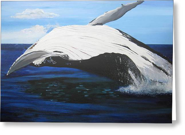 Catherine White Paintings Greeting Cards - Breaching Whale Greeting Card by Cathy Jacobs