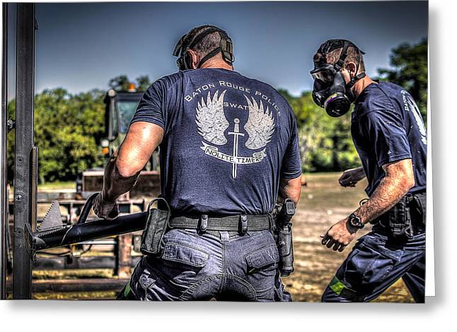 Police Baton Greeting Cards - Breaching with Baton Rouge SWAT Greeting Card by David Morefield