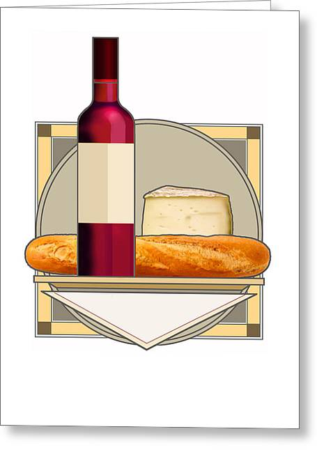 Cheeses Drawings Greeting Cards - Bread and Cheese Greeting Card by Craig Carl