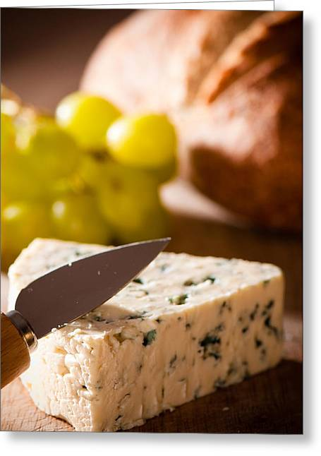 Blue Cheese Greeting Cards - Bread and Cheese With Grapes Greeting Card by Amanda And Christopher Elwell