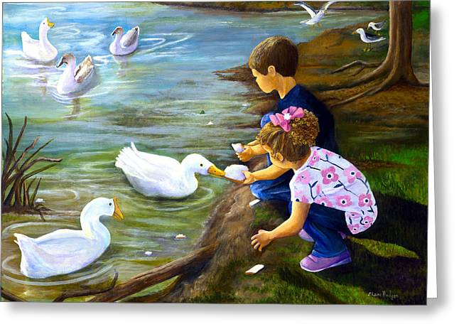 Feeding Time Greeting Cards - Bread and Quackers Greeting Card by Elaine Hodges