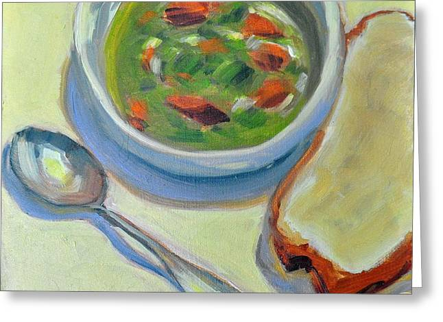 Mary Byrom Greeting Cards - Bread and Soup Greeting Card by Mary Byrom