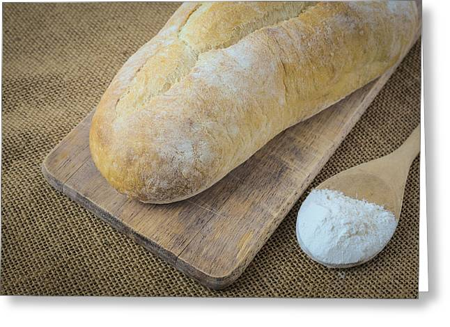 Flour Greeting Cards - Bread and Spoon filled with Flour on Bread Board on Burlap Backg Greeting Card by Brandon Bourdages