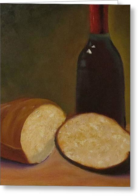 Red Wine Prints Greeting Cards - Bread and Wine Greeting Card by Barbie Baughman
