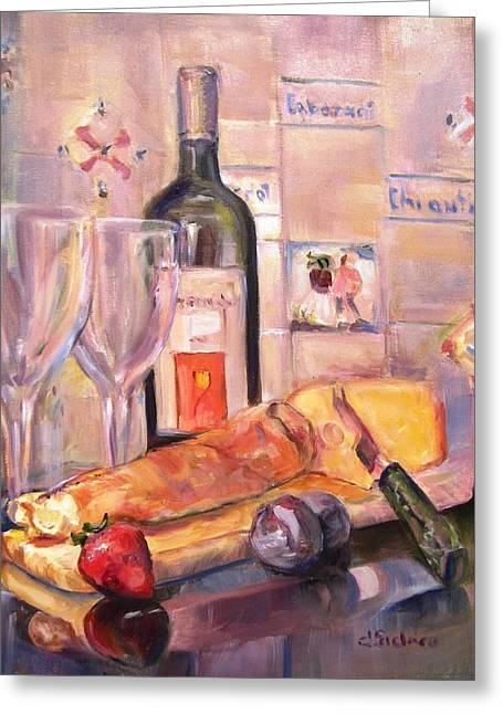 Loaf Of Bread Greeting Cards - Bread and Wine Greeting Card by Dorothy Siclare