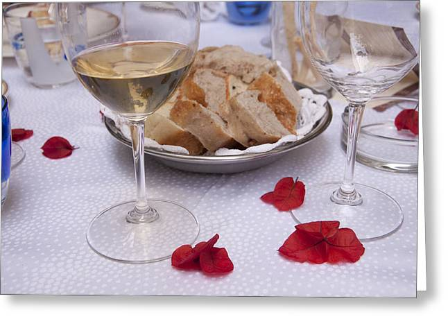 Italian Restaurant Greeting Cards - Bread and Wine Italian Restaurant Greeting Card by Antique Images