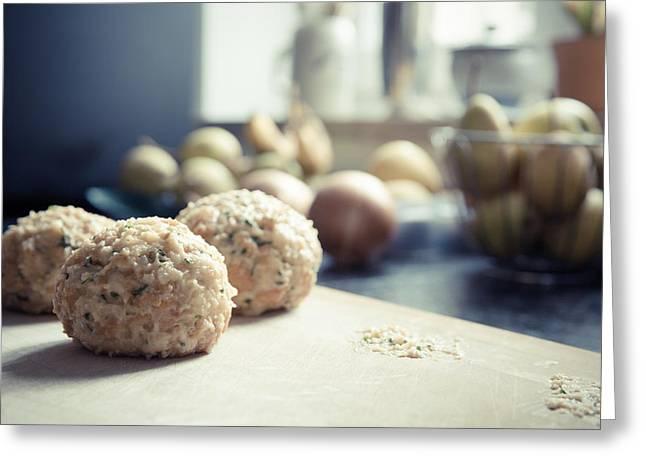 Menu Greeting Cards - Bread dumplings Greeting Card by Anon Artist