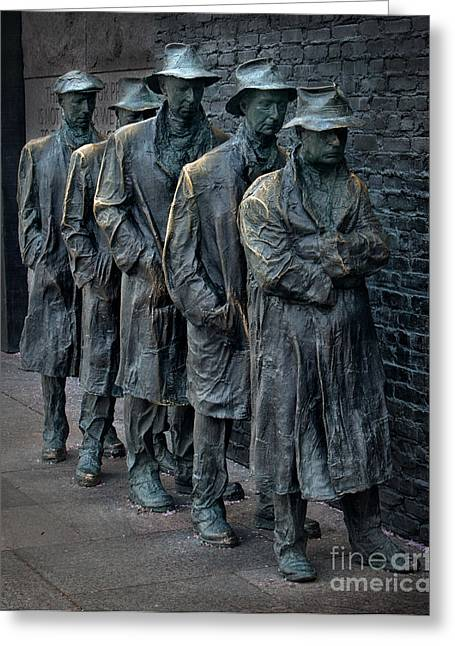 Franklin Roosevelt Digital Art Greeting Cards - Bread Line Greeting Card by Jerry Fornarotto