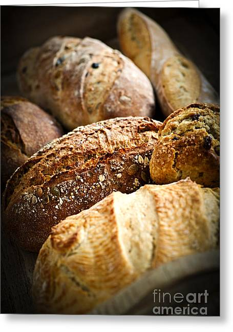 Organic Photographs Greeting Cards - Bread loaves Greeting Card by Elena Elisseeva