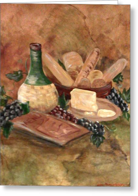Faux Finish Greeting Cards - Bread n Wine Greeting Card by Nora Niles