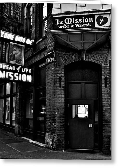 Plight Greeting Cards - Bread of Life Black and White Greeting Card by Benjamin Yeager