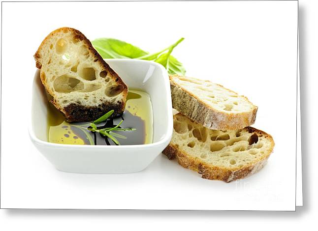 Olives Photographs Greeting Cards - Bread olive oil and vinegar Greeting Card by Elena Elisseeva