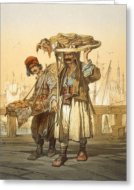 Ottoman Empire Greeting Cards - Bread Sellers On The Quay, 1865 Greeting Card by Amadeo Preziosi