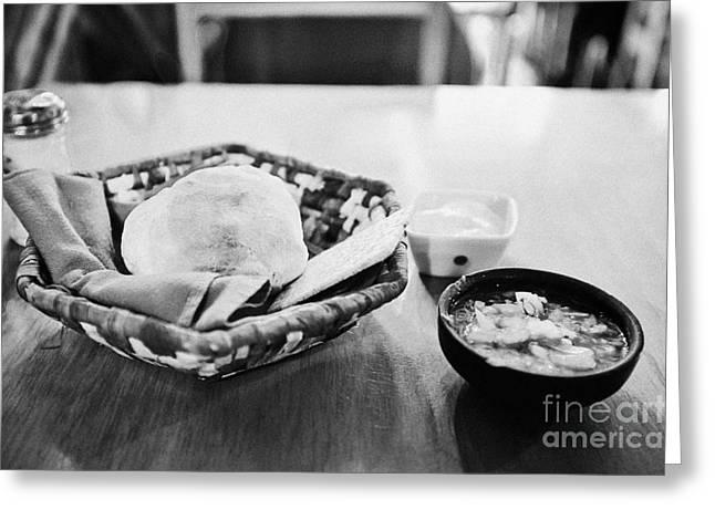Local Restaurants Greeting Cards - breads and salsa inside la luna restaurant Punta Arenas Chile Greeting Card by Joe Fox