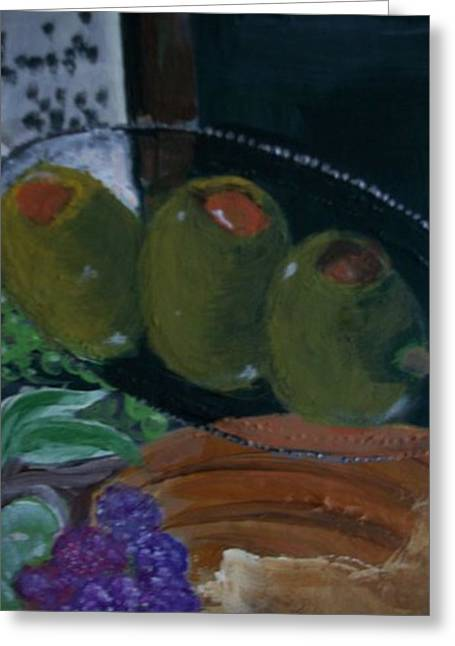 Fruit And Wine Greeting Cards - Break bread Greeting Card by Mary h spencer hollis Driskell