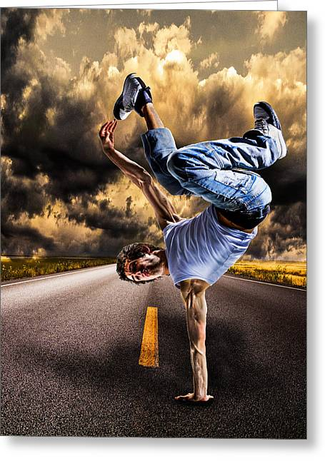 Flash Greeting Cards - Break Dance Greeting Card by Ian Hufton