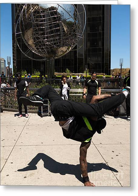 Break Dance Greeting Cards - Break Dancer  Columbus Circle Greeting Card by Amy Cicconi