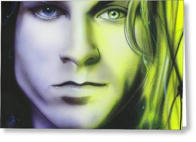 Grunge Paintings Greeting Cards - Break on Through to Lithium Greeting Card by Christian Chapman Art