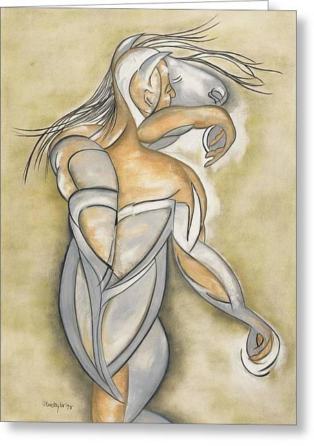 Equus Greeting Cards - Break Out, 1998 Greeting Card by Stevie Taylor