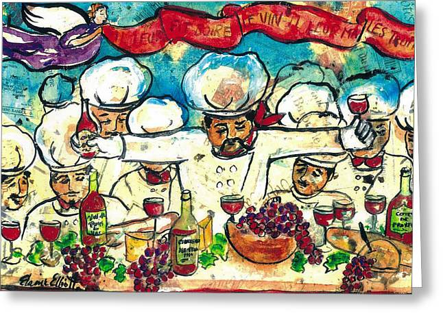 Recently Sold -  - Table Wine Greeting Cards - Break the Bread Drink the Wine Eat the Truffles Greeting Card by Elaine Elliott