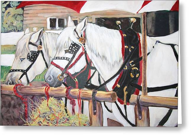 Horse And Cart Greeting Cards - Break Time Greeting Card by Dona Davis