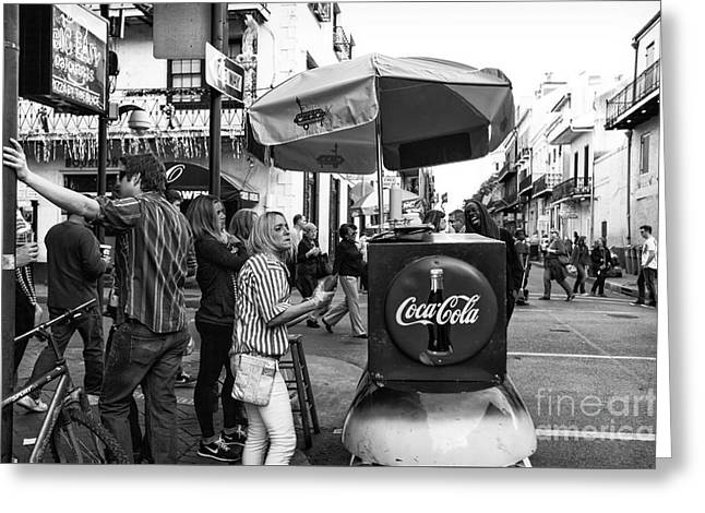 Lucky Dogs Greeting Cards - Break Time on Bourbon Street mono Greeting Card by John Rizzuto