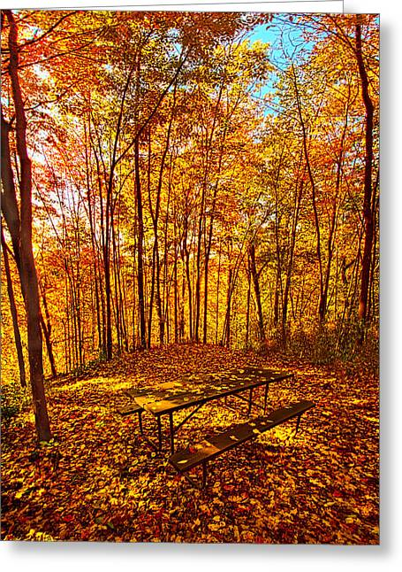 Wood Bench Greeting Cards - Break Time Greeting Card by Phil Koch