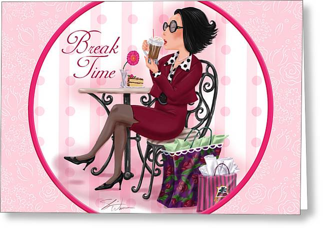 Cocktail Mixed Media Greeting Cards - Break Time Greeting Card by Shari Warren