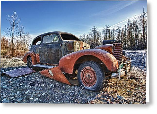 Rusted Cars Greeting Cards - Breakdown Greeting Card by Ed Boudreau
